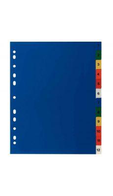 Intercalaires numériques en polypropylène de couleur, format A4+ - Jeu de 12