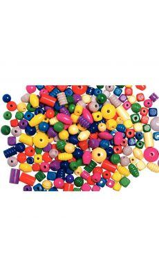Perles en bois mixtes ( tailles et couleurs vives assorties) - Sachet de 500g