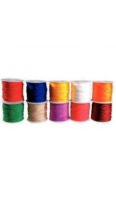 Lot de 10 bobines 18 mètres de cordons couleurs