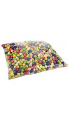 Perles en bois multicolores assorties, diamètre 10mm - Sachet de 1000