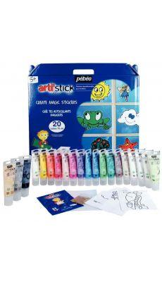 PEBEO - 008653 - Peinture repositionnable Arti'Stick + accessoires (17 couleurs + 3 tubes cerne)