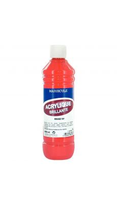 Peinture acrylique brillante coloris rouge vif - Flacon de 500ml
