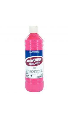 Peinture acrylique brillante coloris rose - Flacon de 500ml