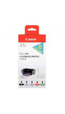 Cartouche multipack Canon CLI-8 (noir, photo cyan, photo magenta, rouge, vert)