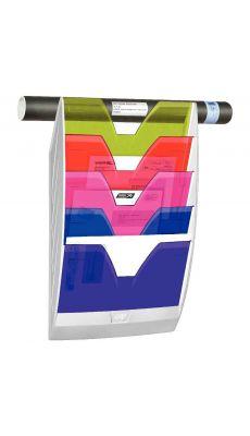 CEP - 154 HM - Corbeille murale 5 cases reception multicolores transparent