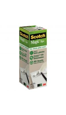 SCOTCH - Rouleaux adhésifs invisible Scotch Magic Green 19 mm x 33 m - Pack de 9