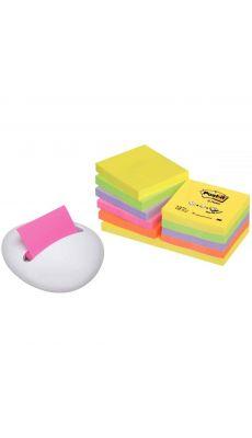 Post-it Z notes néon 76x76mm, coloris assortis + dévidoir galet blanc - lot de 12