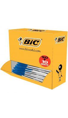 BIC - 278233 - Stylo bille cristal jetable pointe moyenne bleu - Pack de 100