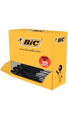 BIC - 896042 - Stylo bille M10 rétractable jetable pointe moyenne noir - Boite de 100
