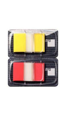 Carte de 2X50 index repositionnables - format 2,5 x 4,3 cm - coloris jaune et rouge
