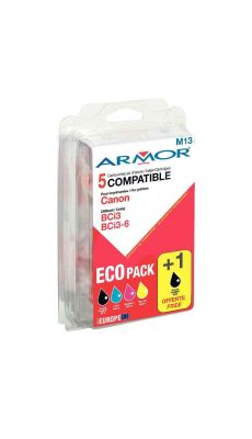 Pack de 5 Cartouches d'encre Compartible Canon Bci3