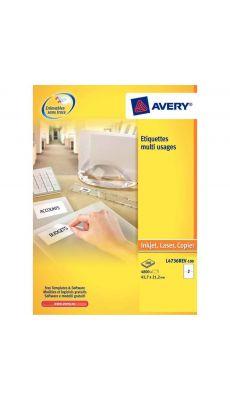 Avery - L4743REV-25 - Etiquettes enlevables 99.1x42.3mm - Paquet de 300