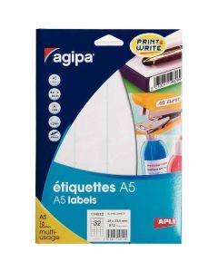 Agipa - 114012 - Etiquette adhésive blanche A5 - Format 24x33,5 mm - Etui de 512