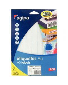 Agipa - 114036 - Etiquette adhésive blanche A5 - Format 48,5x18,5 mm - Etui de 448